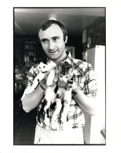 Phil Collins Holding Kittens Vintage Original Photograph