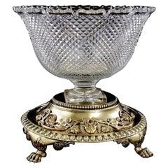 Paul Crespin Regence Crystal Silver Gilt 1700s/1800s Centerpiece Bowl