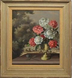 Antique American Trompe L'Oeil Flower Still Life & Landscape by Paul Crosthwaite