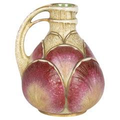 Paul Dachsel Alexandra Porcelain Works Art Nouveau Leaf Design Handled Vase