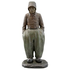 Paul D'Aire French Cold Painted Bronze Sculpture of a Breton Peasant