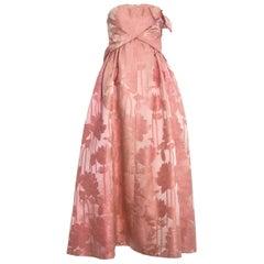 Paul Daunay couture pink silk brocade evening gown, c. 1960