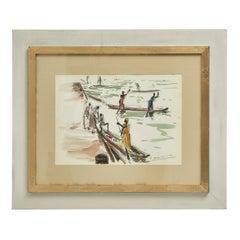 Paul Daxhelet African Watercolor, 1950's