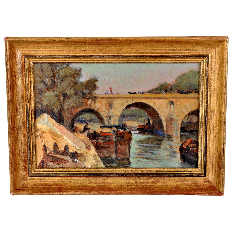 Antique French Impressionist Oil Painting Boat Nearing Bridge Paul de Frick 1900