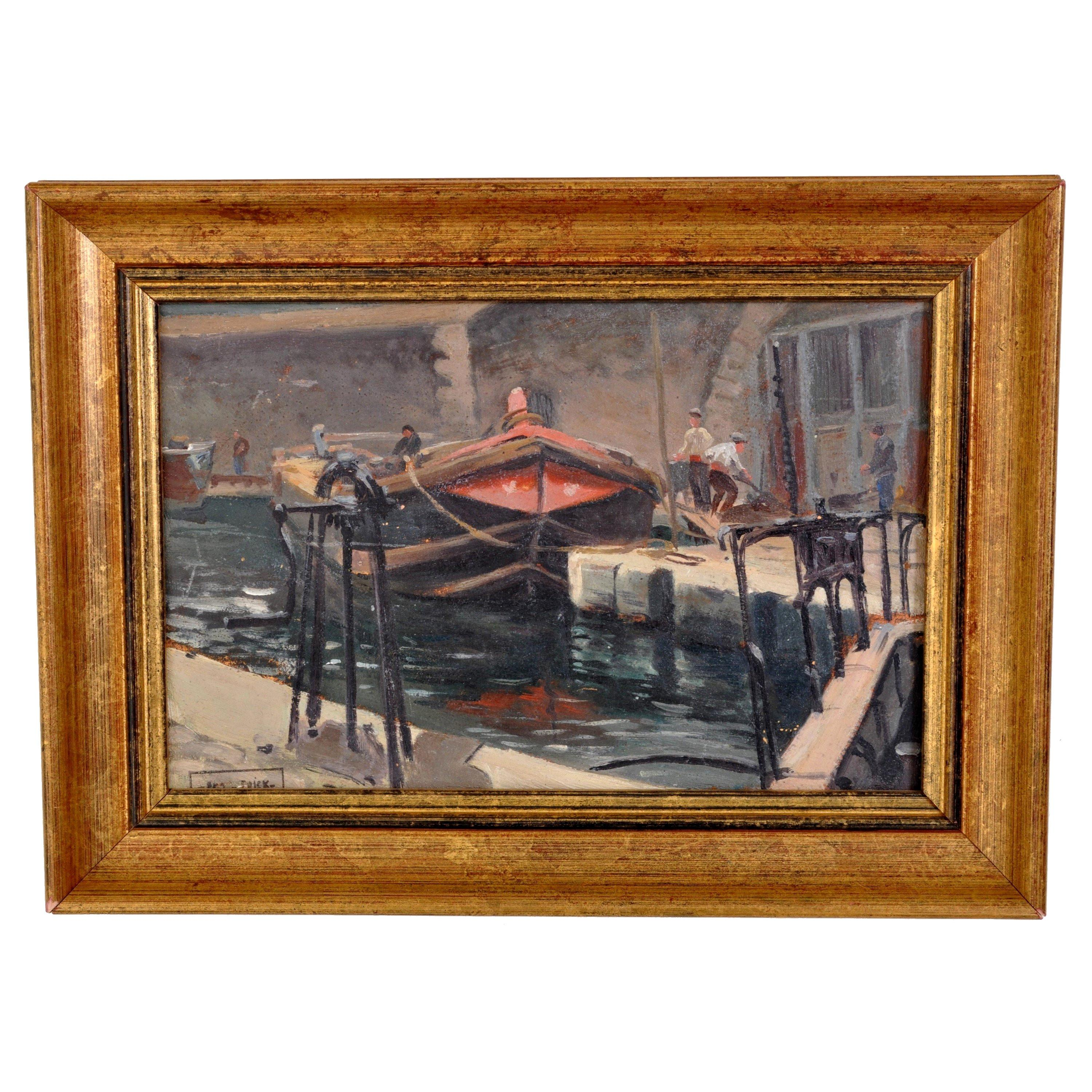 Antique French Impressionist Oil Painting Boat on River Scene Paul de Frick 1900