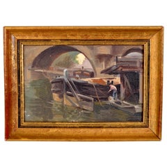 Antique French Impressionist Oil Painting Boat on the Seine Paul de Frick 1900