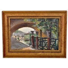 Antique French Impressionist Oil Painting Paris River Scene Paul de Frick 1900