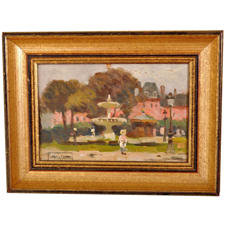 """Antique French Impressionist Oil Painting """"Place des Vosges"""" Paris Paul de Frick"""