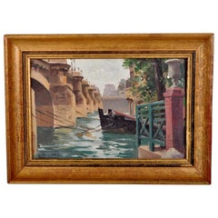 Antique French Impressionist Oil Painting Pont Neuf Paris by Paul de Frick 1900