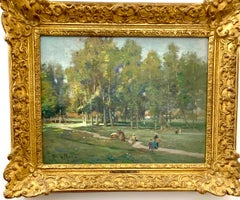 French Impressionist scene of figures walking through a wooded village park.
