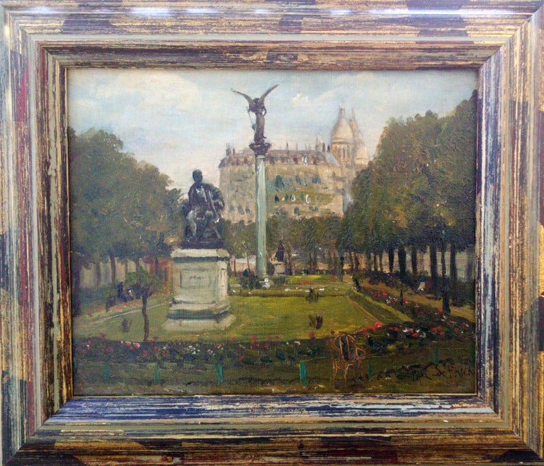 Montmartre and Scare Coeur: the Diderot Sculpture in Square d'Auvers - Painting by PAUL DE FRICK