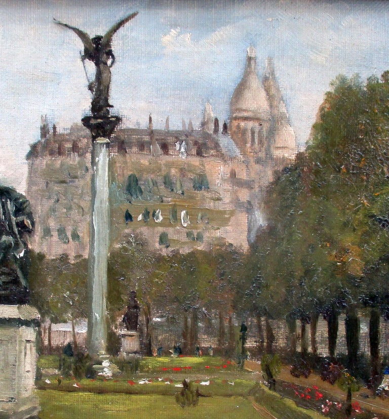 Montmartre and Scare Coeur: the Diderot Sculpture in Square d'Auvers - Gray Figurative Painting by PAUL DE FRICK
