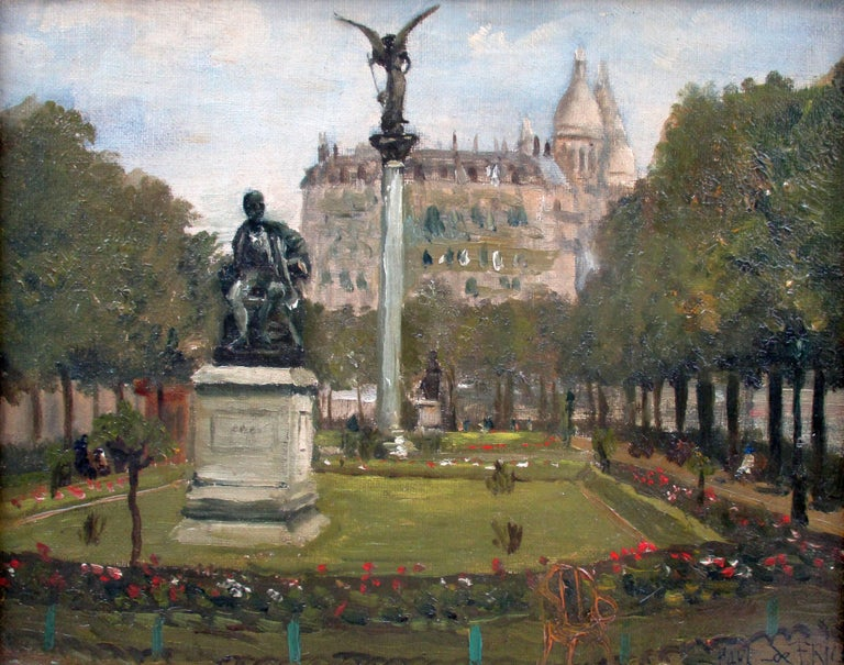 PAUL DE FRICK Figurative Painting - Montmartre and Scare Coeur: the Diderot Sculpture in Square d'Auvers