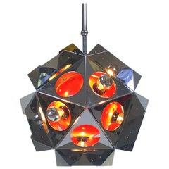 Paul De Haan Chrome & Orange Space Age Sputnik Ceiling Light, Mid-Century Modern