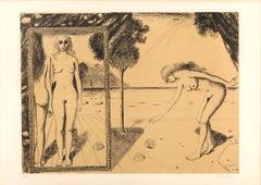 La Plage - Original Lithograph by Paul Delvaux - 1972