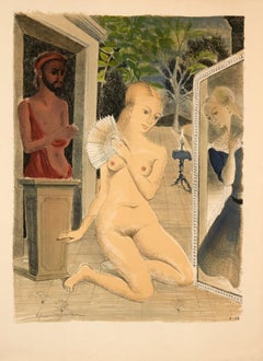 The Fan by Paul Delvaux (1968) - lithograph