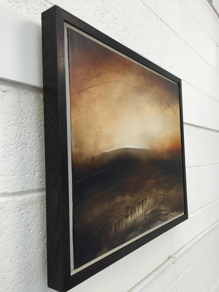 Atmospheric Abstract Landscape Painting of British Moorland with Earthy Tones For Sale 5