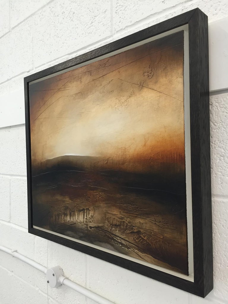 Atmospheric Abstract Landscape Painting of British Moorland with Earthy Tones For Sale 4