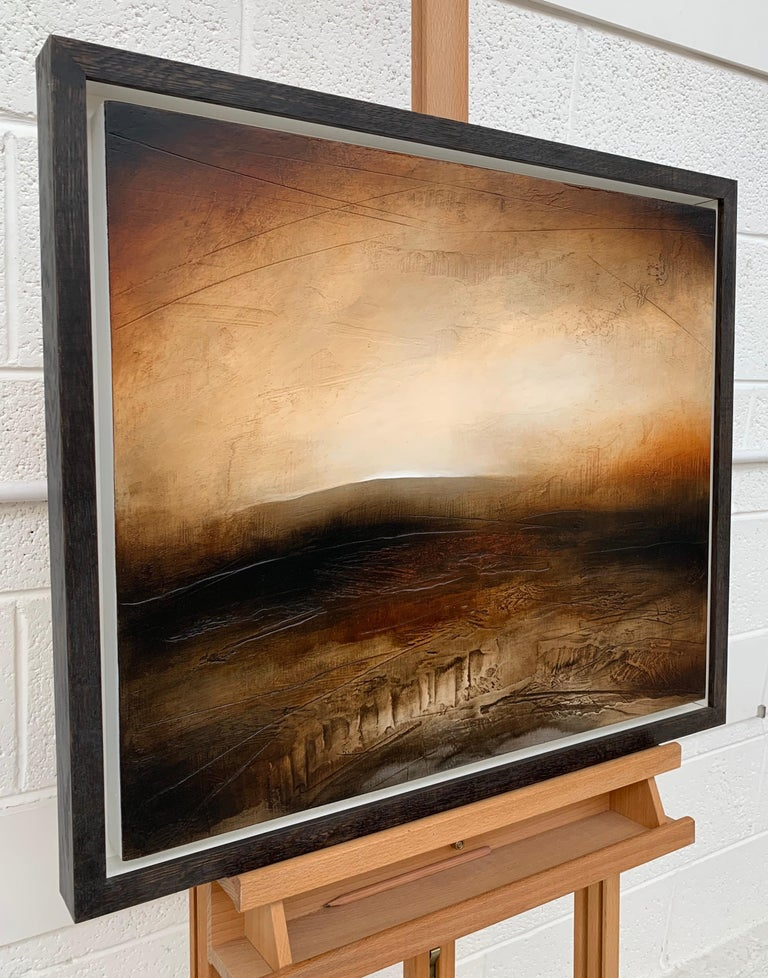 Atmospheric Abstract Landscape Painting of British Moorland with Earthy Tones For Sale 1