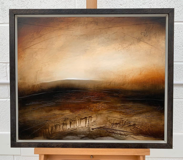 Atmospheric Abstract Landscape Painting of British Moorland with Earthy Tones For Sale 2
