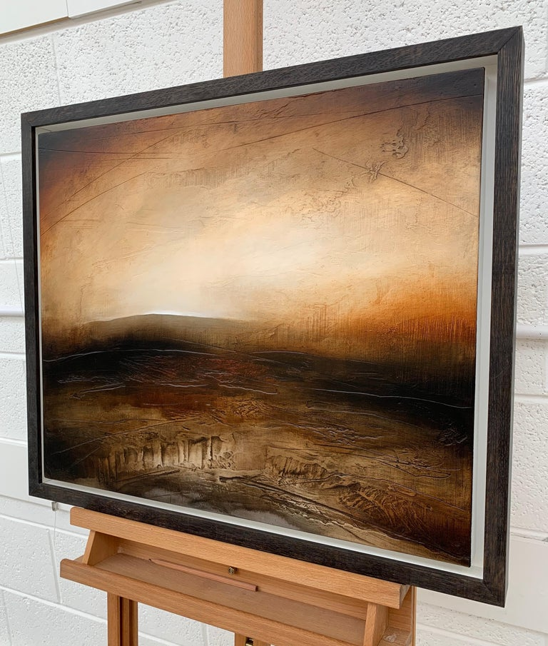 Atmospheric Abstract Landscape Painting of British Moorland with Earthy Tones For Sale 3