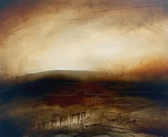 Atmospheric Abstract Landscape Painting of British Moorland with Earthy Tones