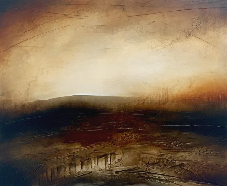 Atmospheric Abstract Landscape Painting of British Moorland with Earthy Tones, entitled 'The Oldest Hill', by English Artist Paul Denham. Paul starts to paint by applying a ground into which he carves linear markings. These lines give the surface an