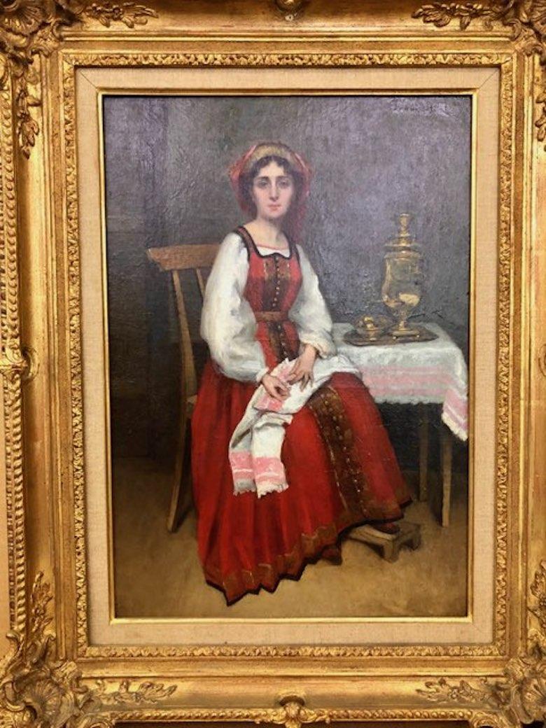 Jeune Femme au Samovar, Oil on Canvas, Barbizon School