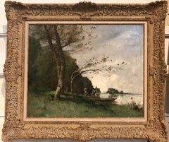 Moulin sur la vienne , oil on canvas , signed lower left