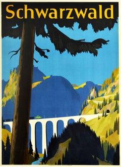 Original Vintage Poster Schwarzwald Black Forest Railway Travel Hollental Valley