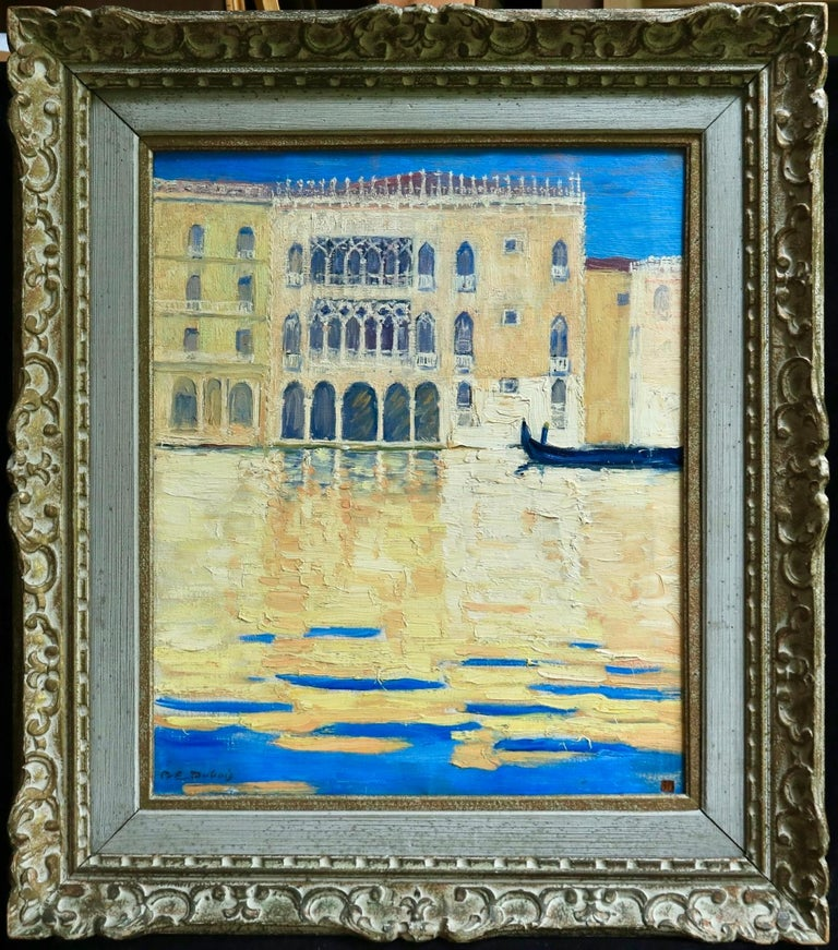 Venice - Orientalist Oil, Gondola on the Canal Landscape by Paul Elie Dubois - Painting by Paul Dubois