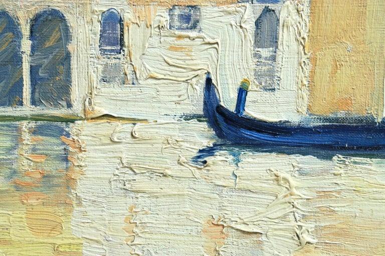 Venice - Orientalist Oil, Gondola on the Canal Landscape by Paul Elie Dubois - Beige Figurative Painting by Paul Dubois