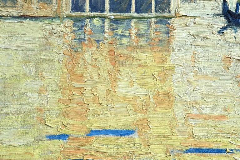 Venice - Orientalist Oil, Gondola on the Canal Landscape by Paul Elie Dubois For Sale 2