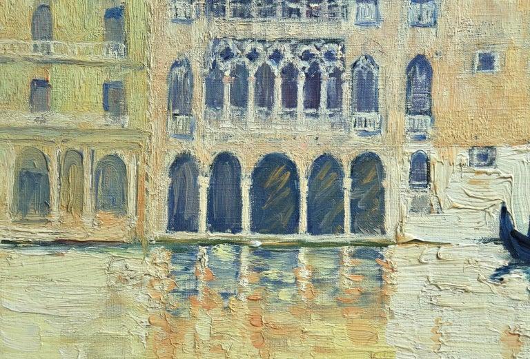 Venice - Orientalist Oil, Gondola on the Canal Landscape by Paul Elie Dubois For Sale 3