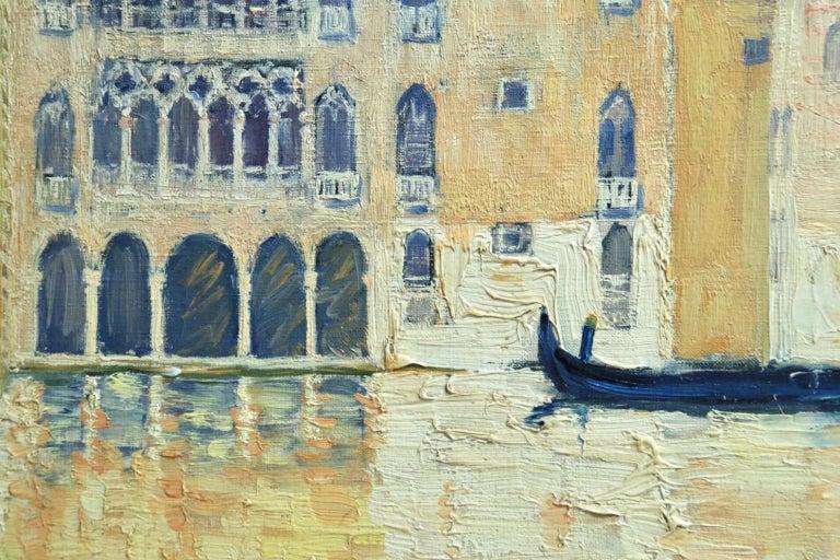 Venice - Orientalist Oil, Gondola on the Canal Landscape by Paul Elie Dubois For Sale 4