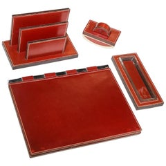 Paul Dupre-Lafon for Hermes Paris, Four-Piece Leather Desk Set, circa 1940