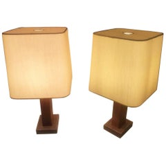 Pair of Leather Table Lamp, Paul Dupre-Lafon for Hermes