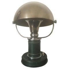 Paul Dupré-Lafon Green Stitched Leather and Chrome Table Lamp, Hermès, 1930s