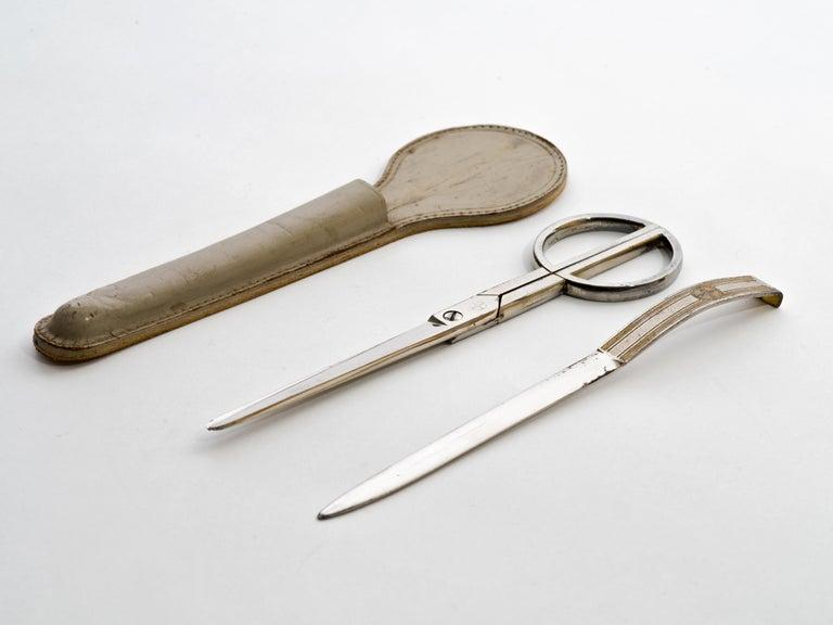 Modern Paul Dupre-Lafon Hermes Paris Scissors, Letter Opener in Leather Scabbard Signed For Sale