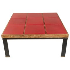 Paul Dupré-Lafon Style Midcentury Red Leather and Oak Coffee Table