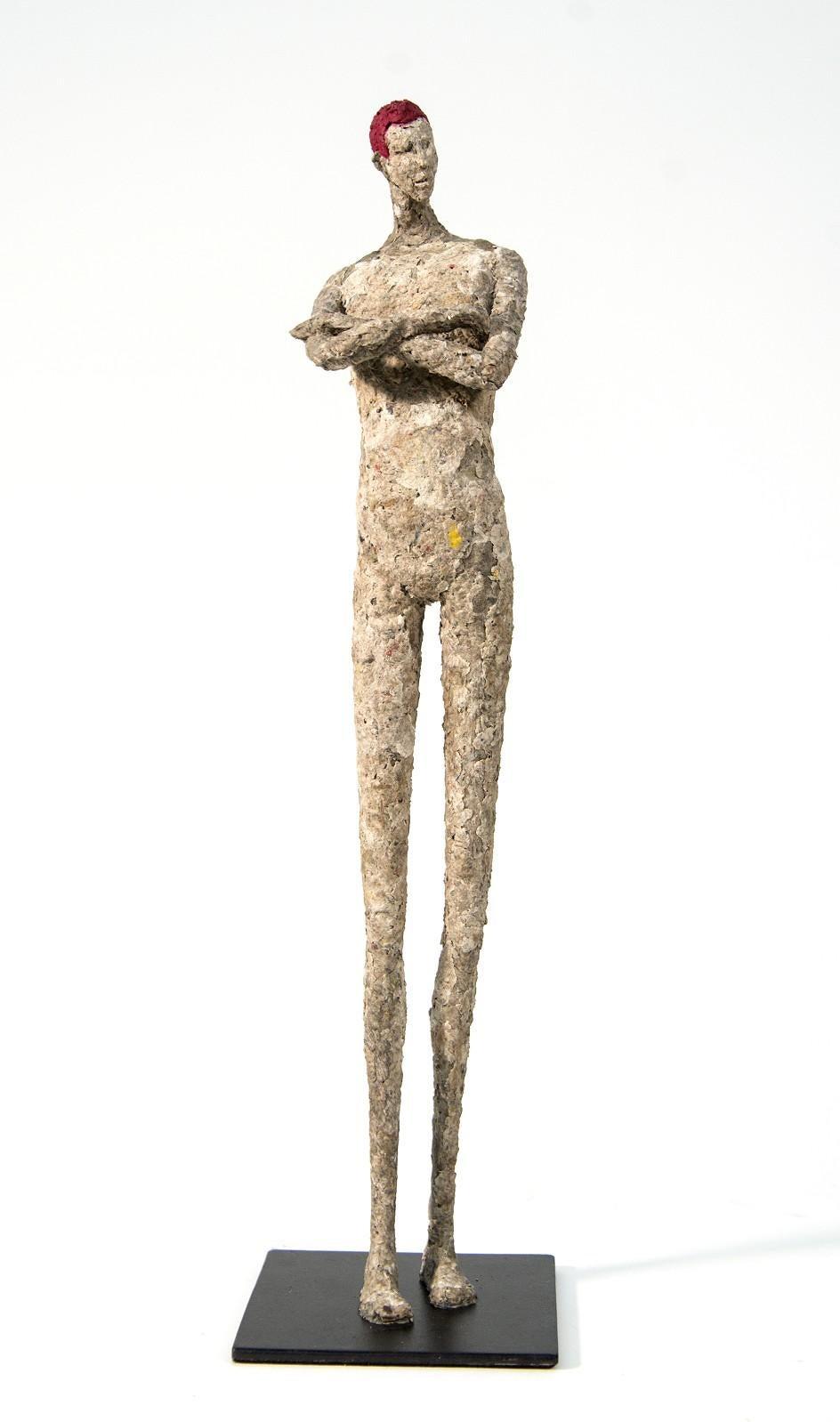 Alexandre the Red - expressive, textured, male, figurative paper mache sculpture