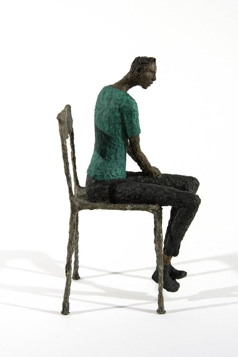 Attente homme bleu vert - expressive, figurative, male, paper mache sculpture - Black Figurative Sculpture by Paul Duval