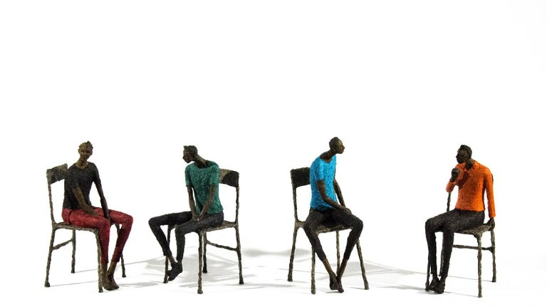 Attente homme bleu vert - expressive, figurative, male, paper mache sculpture For Sale 1