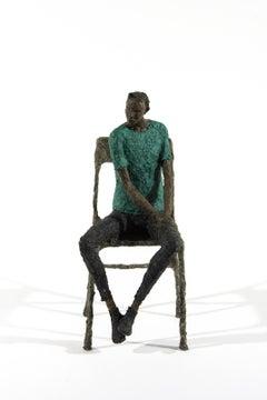 Attente homme bleu vert - expressive, figurative, male, paper mache sculpture