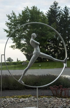 Equilibre No 2 - large, expressive, male, figurative, metal outdoor sculpture