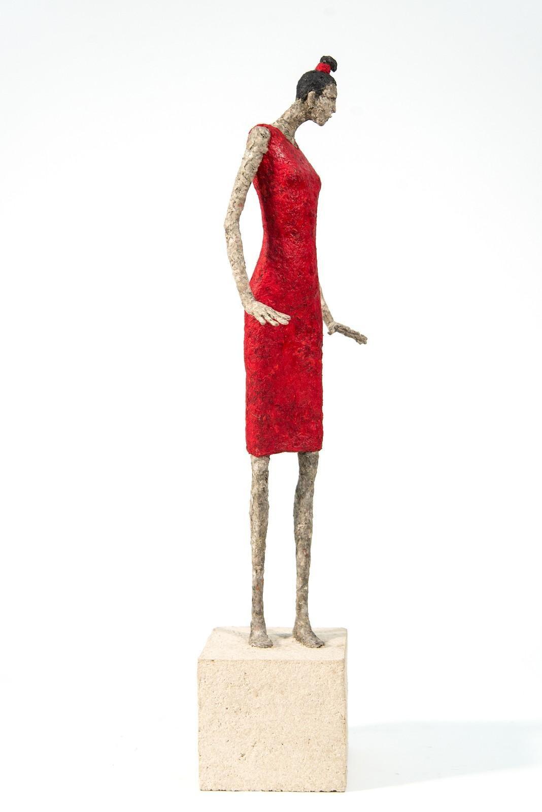 Francoise - expressive, textured, figurative, female, paper mache sculpture