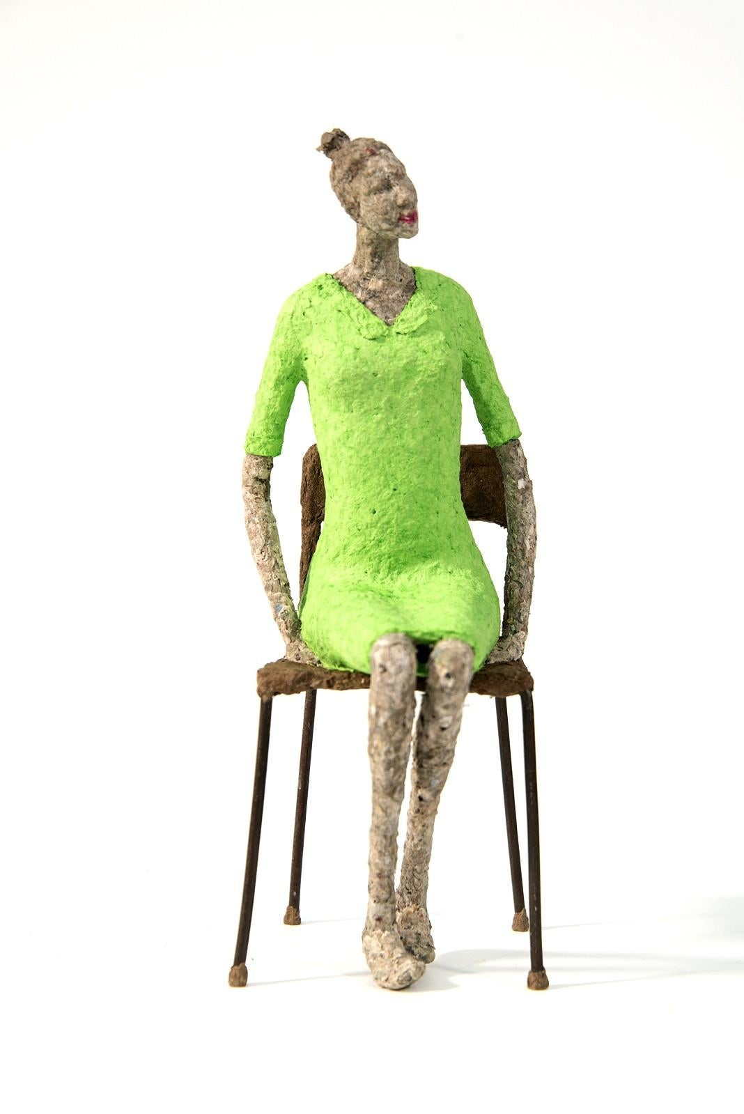 Pomme - bright, expressive, textured, figurative, female, paper mache sculpture