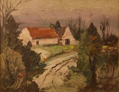 English Farmhouse - Early 20th Century Impressionist Oil Piece by Paul Earee