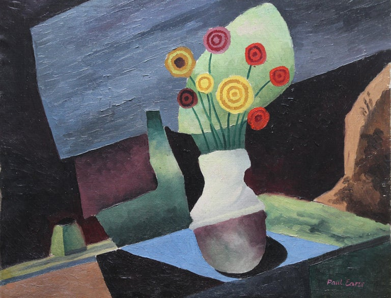 Floral Still Life - British art 1930 Post Cubist oil painting red yellow flowers - Painting by Paul Earee