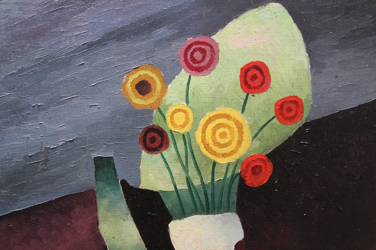 Floral Still Life - British art 1930 Post Cubist oil painting red yellow flowers For Sale 1